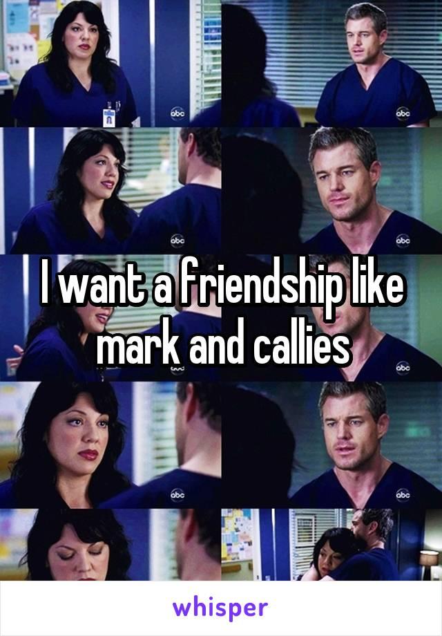 I want a friendship like mark and callies