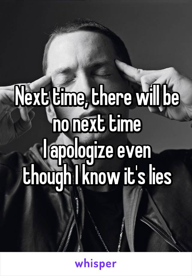 Next time, there will be no next time I apologize even though I know it's lies
