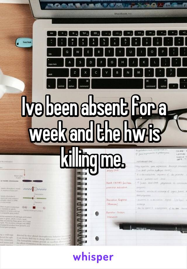 Ive been absent for a week and the hw is killing me.