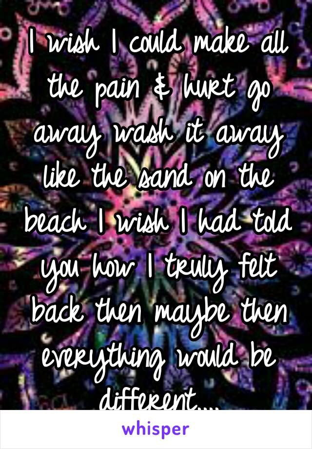 I wish I could make all the pain & hurt go away wash it away like the sand on the beach I wish I had told you how I truly felt back then maybe then everything would be different....