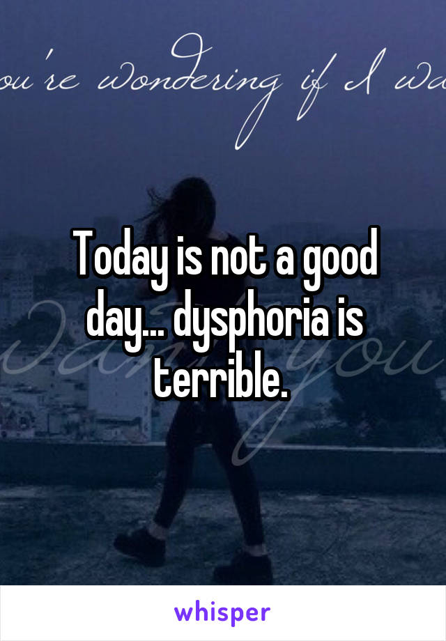 Today is not a good day... dysphoria is terrible.