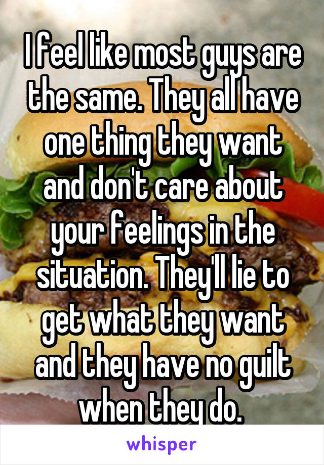 I feel like most guys are the same. They all have one thing they want and don't care about your feelings in the situation. They'll lie to get what they want and they have no guilt when they do.