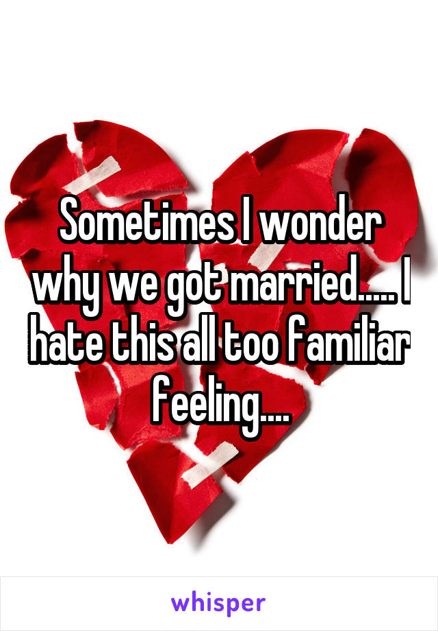Sometimes I wonder why we got married..... I hate this all too familiar feeling....