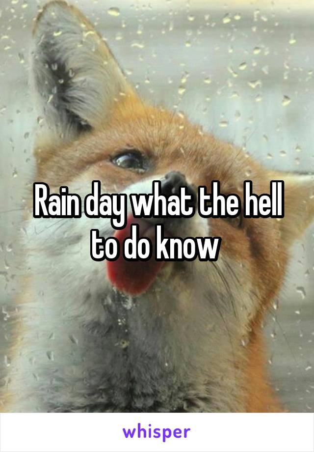 Rain day what the hell to do know