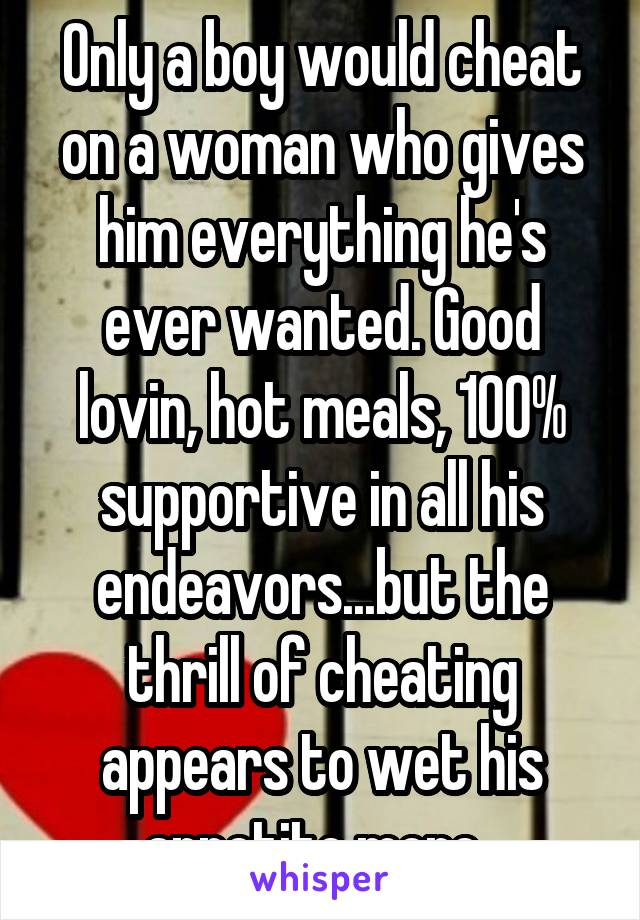 Only a boy would cheat on a woman who gives him everything he's ever wanted. Good lovin, hot meals, 100% supportive in all his endeavors...but the thrill of cheating appears to wet his appetite more.