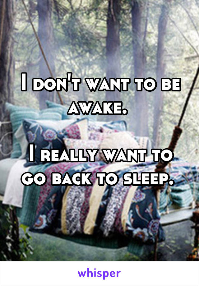 I don't want to be awake.   I really want to go back to sleep.