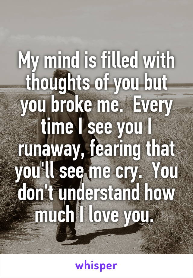 My mind is filled with thoughts of you but you broke me.  Every time I see you I runaway, fearing that you'll see me cry.  You don't understand how much I love you.