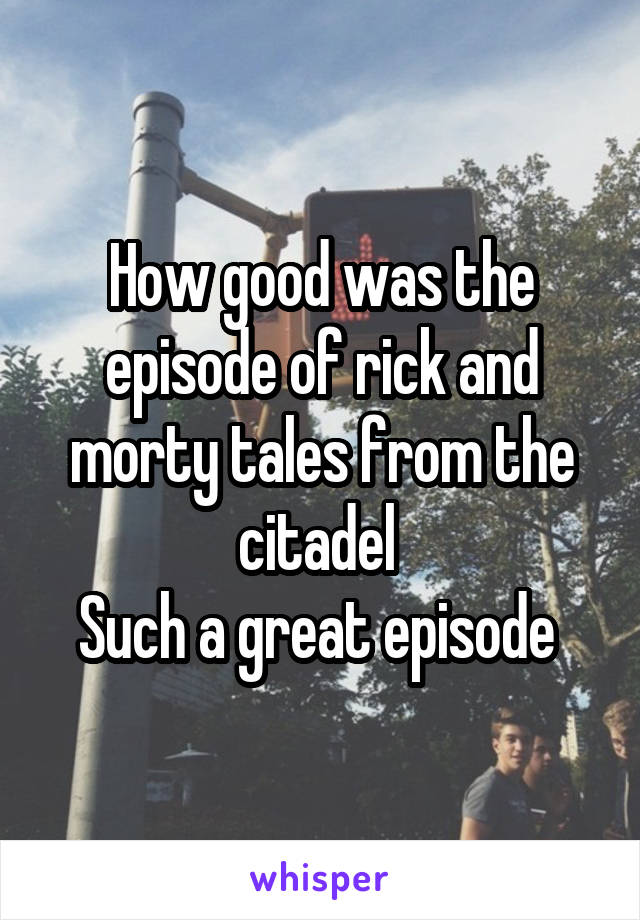 How good was the episode of rick and morty tales from the citadel  Such a great episode