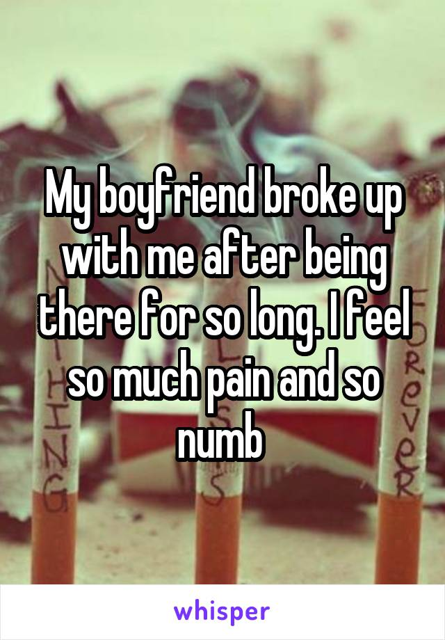 My boyfriend broke up with me after being there for so long. I feel so much pain and so numb