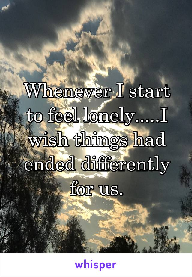Whenever I start to feel lonely.....I wish things had ended differently for us.