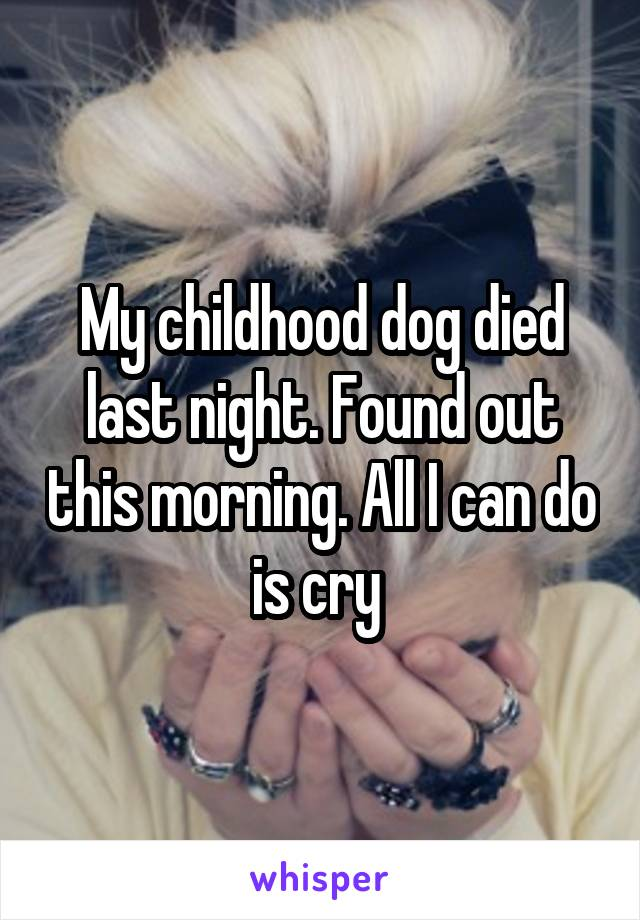 My childhood dog died last night. Found out this morning. All I can do is cry