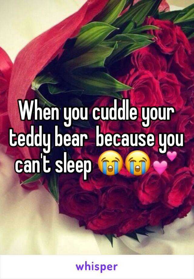When you cuddle your teddy bear  because you can't sleep 😭😭💕