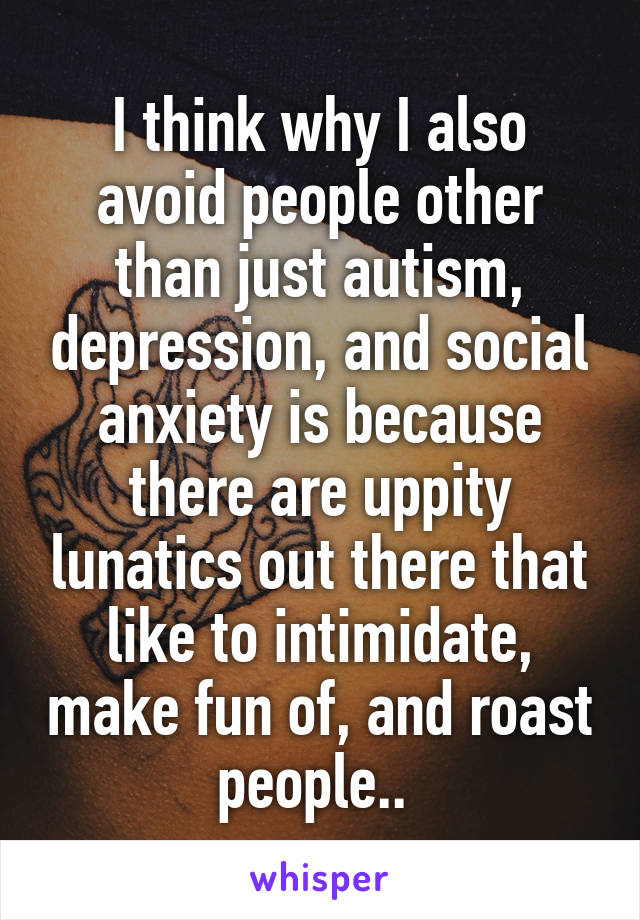 I think why I also avoid people other than just autism, depression, and social anxiety is because there are uppity lunatics out there that like to intimidate, make fun of, and roast people..
