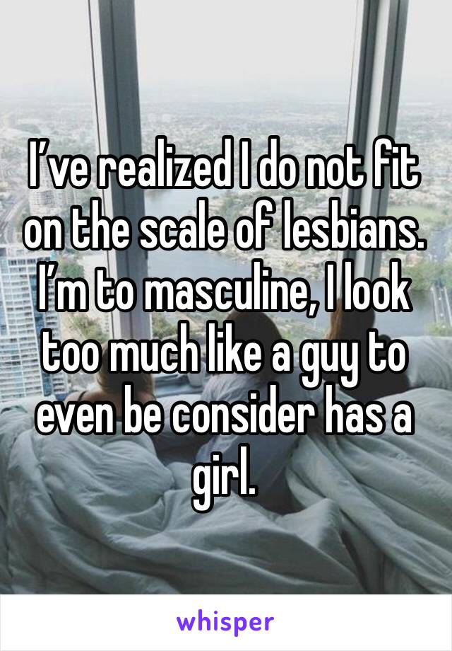 I've realized I do not fit on the scale of lesbians. I'm to masculine, I look too much like a guy to even be consider has a girl.