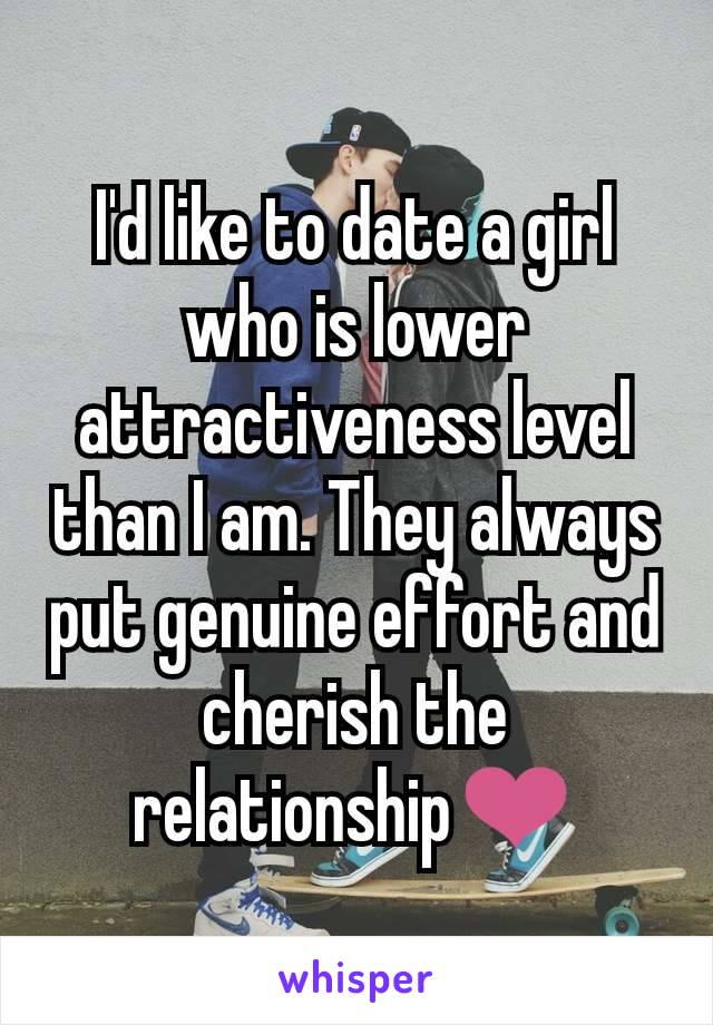 I'd like to date a girl who is lower attractiveness level than I am. They always put genuine effort and cherish the relationship❤