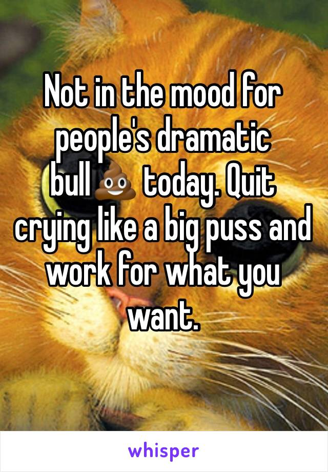 Not in the mood for people's dramatic bull💩 today. Quit crying like a big puss and work for what you want.