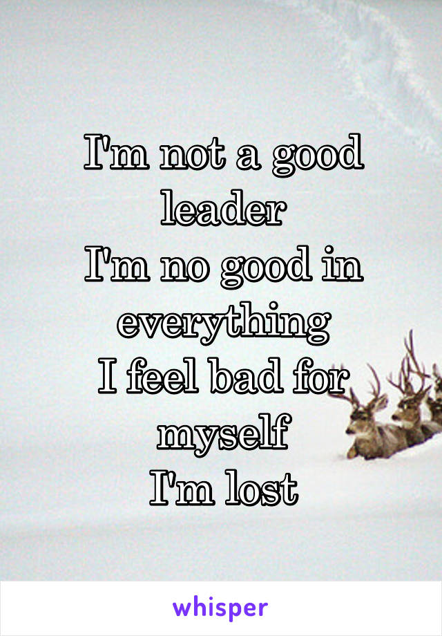 I'm not a good leader I'm no good in everything I feel bad for myself I'm lost