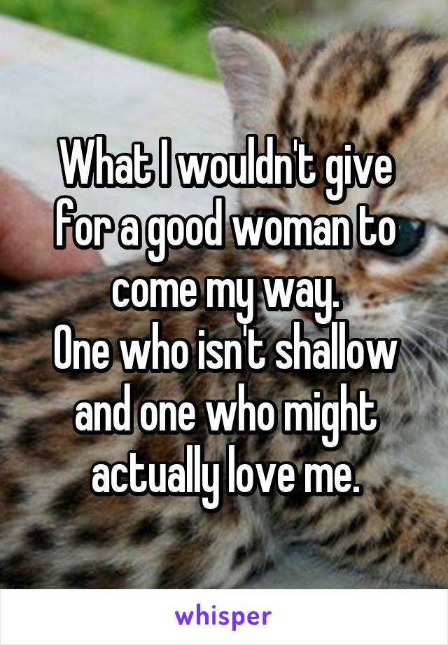What I wouldn't give for a good woman to come my way. One who isn't shallow and one who might actually love me.