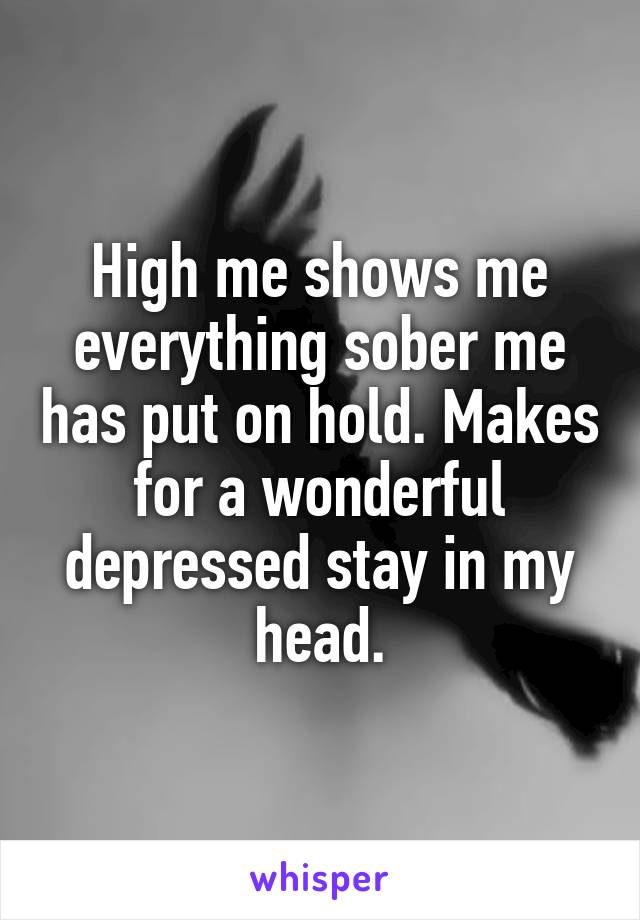 High me shows me everything sober me has put on hold. Makes for a wonderful depressed stay in my head.