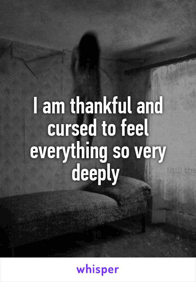 I am thankful and cursed to feel everything so very deeply