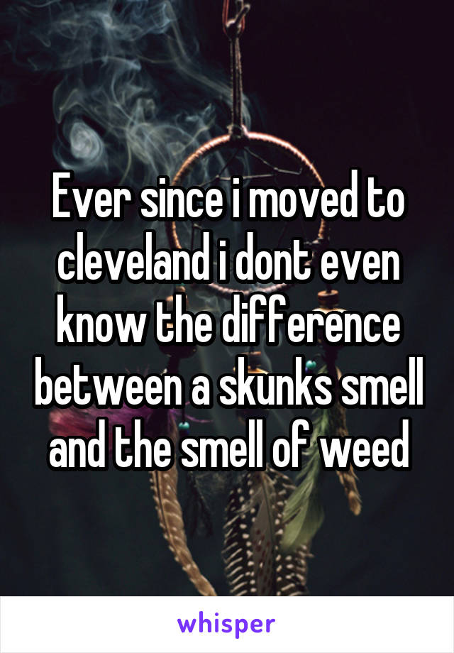 Ever since i moved to cleveland i dont even know the difference between a skunks smell and the smell of weed