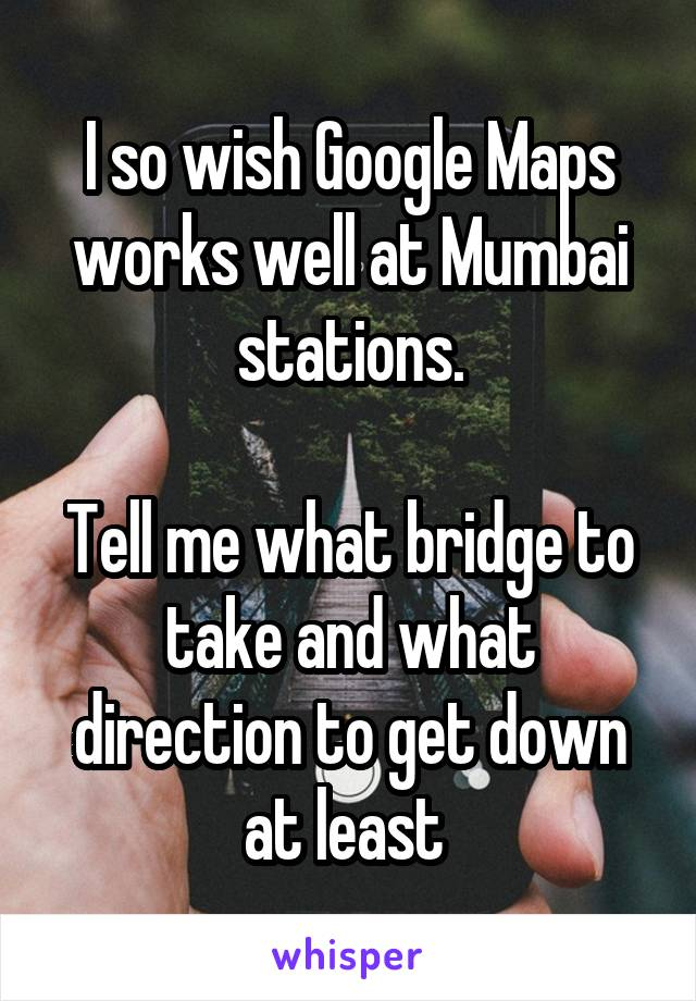 I so wish Google Maps works well at Mumbai stations.  Tell me what bridge to take and what direction to get down at least