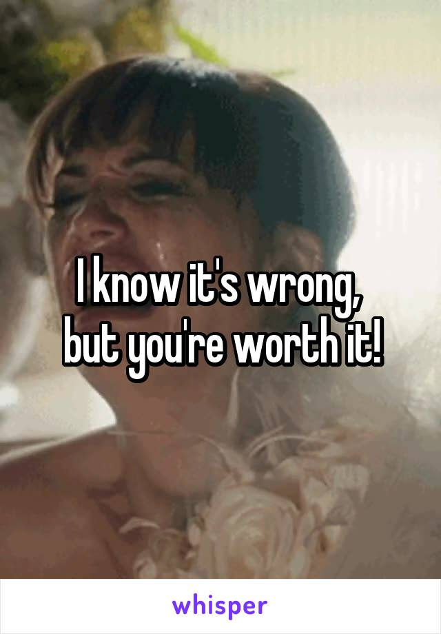 I know it's wrong,  but you're worth it!