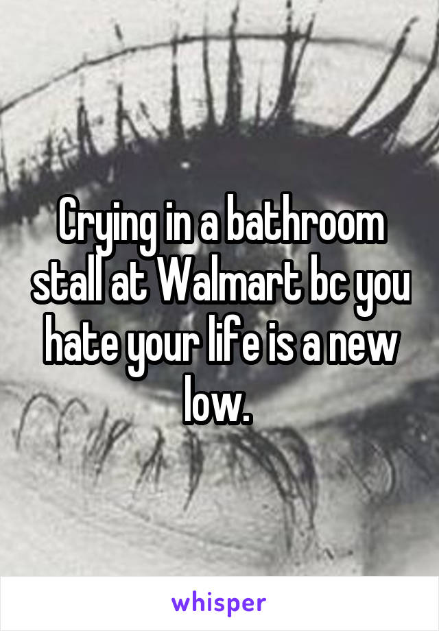 Crying in a bathroom stall at Walmart bc you hate your life is a new low.