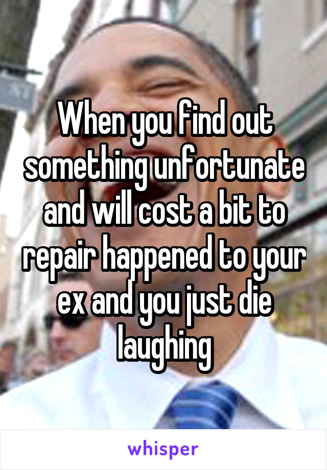 When you find out something unfortunate and will cost a bit to repair happened to your ex and you just die laughing
