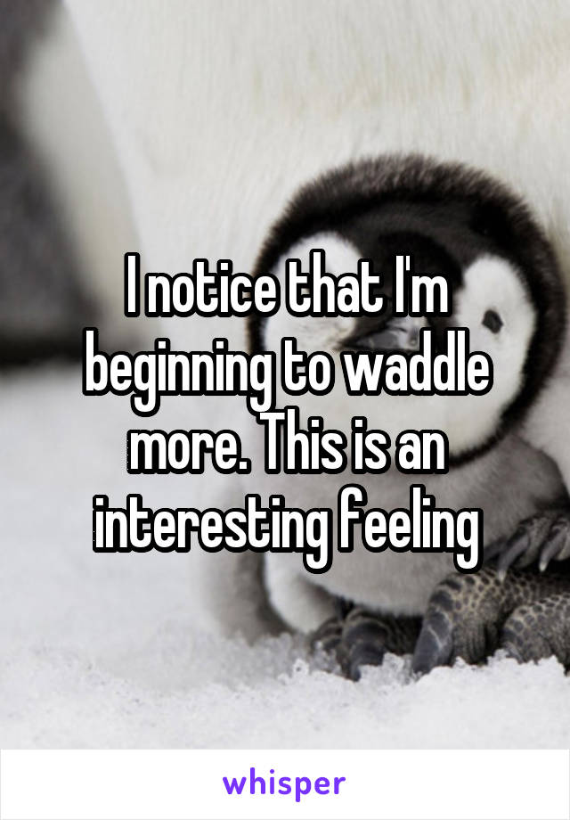 I notice that I'm beginning to waddle more. This is an interesting feeling