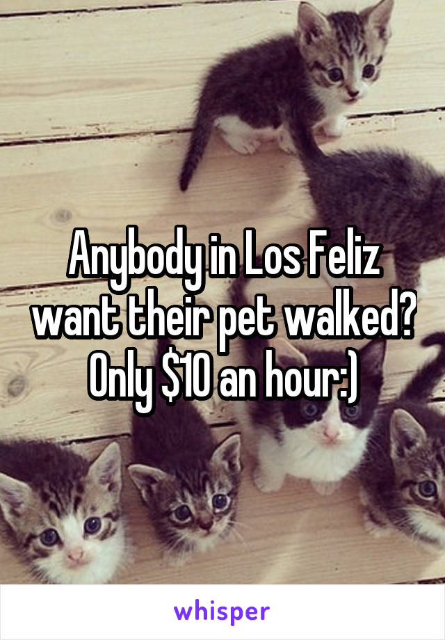 Anybody in Los Feliz want their pet walked? Only $10 an hour:)