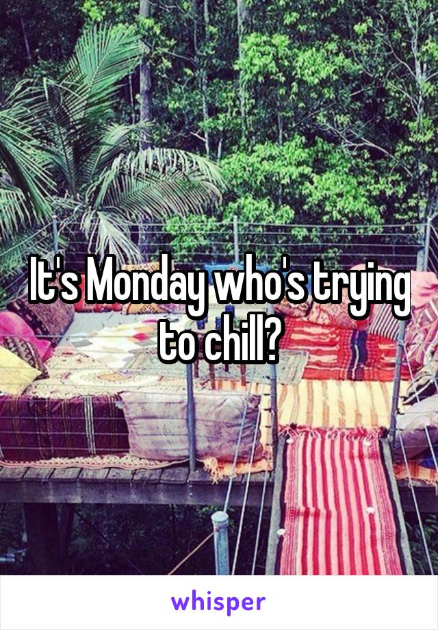 It's Monday who's trying to chill?