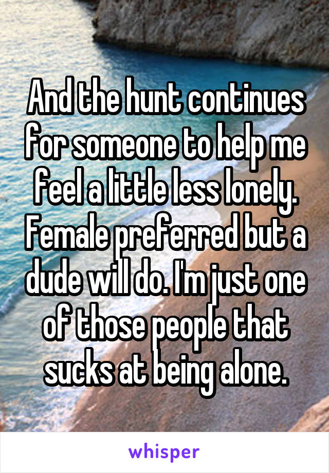 And the hunt continues for someone to help me feel a little less lonely. Female preferred but a dude will do. I'm just one of those people that sucks at being alone.