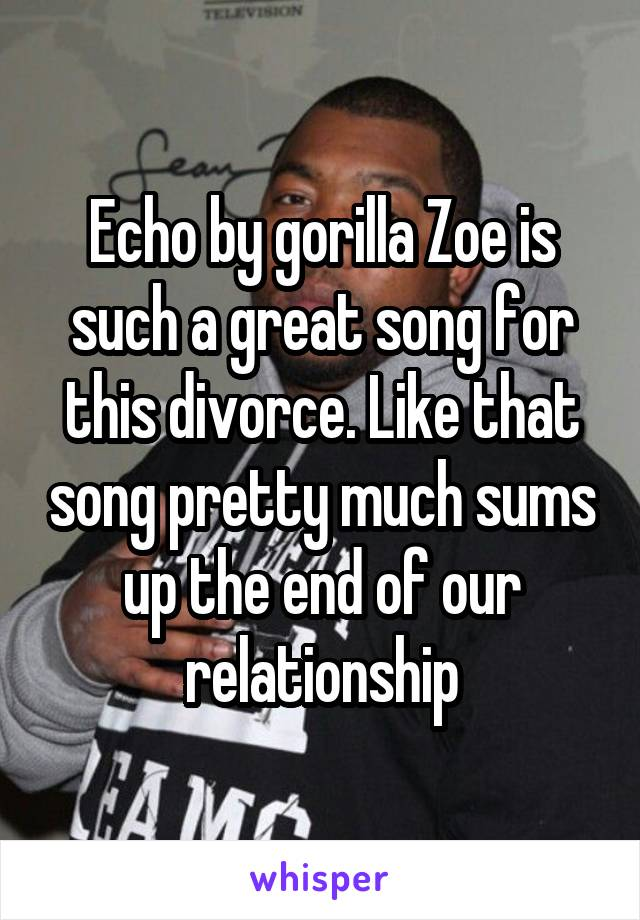 Echo by gorilla Zoe is such a great song for this divorce. Like that song pretty much sums up the end of our relationship