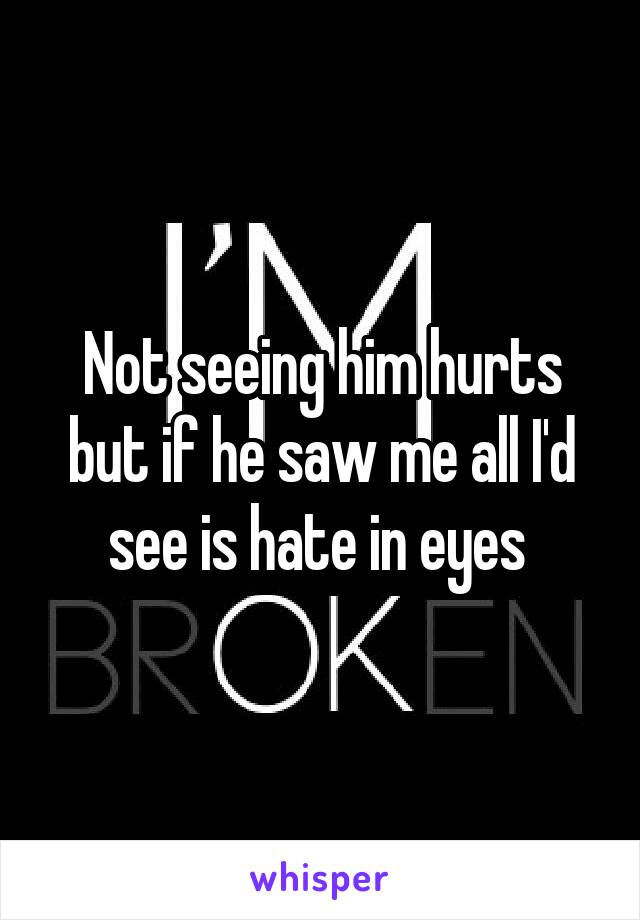 Not seeing him hurts but if he saw me all I'd see is hate in eyes
