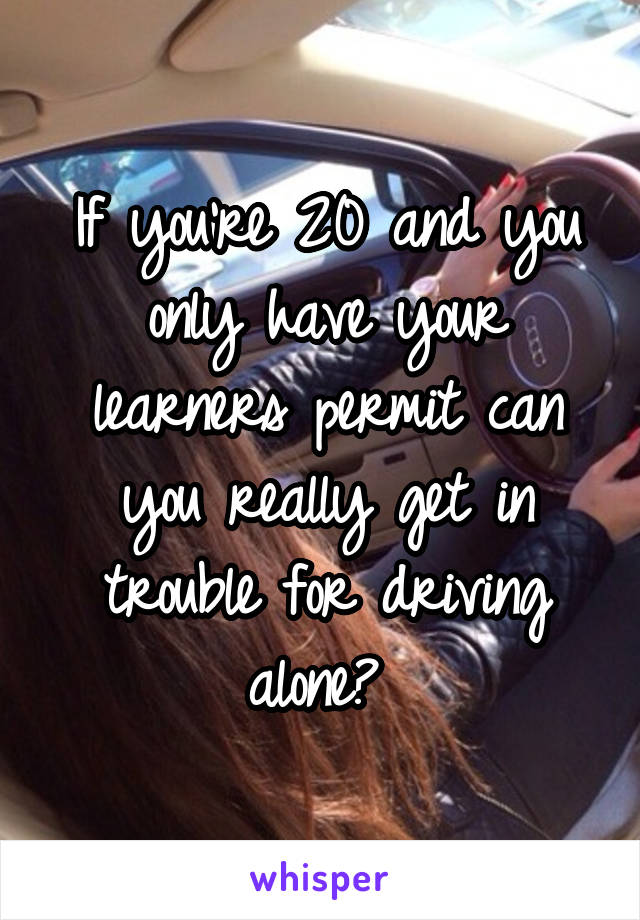 If you're 20 and you only have your learners permit can you really get in trouble for driving alone?