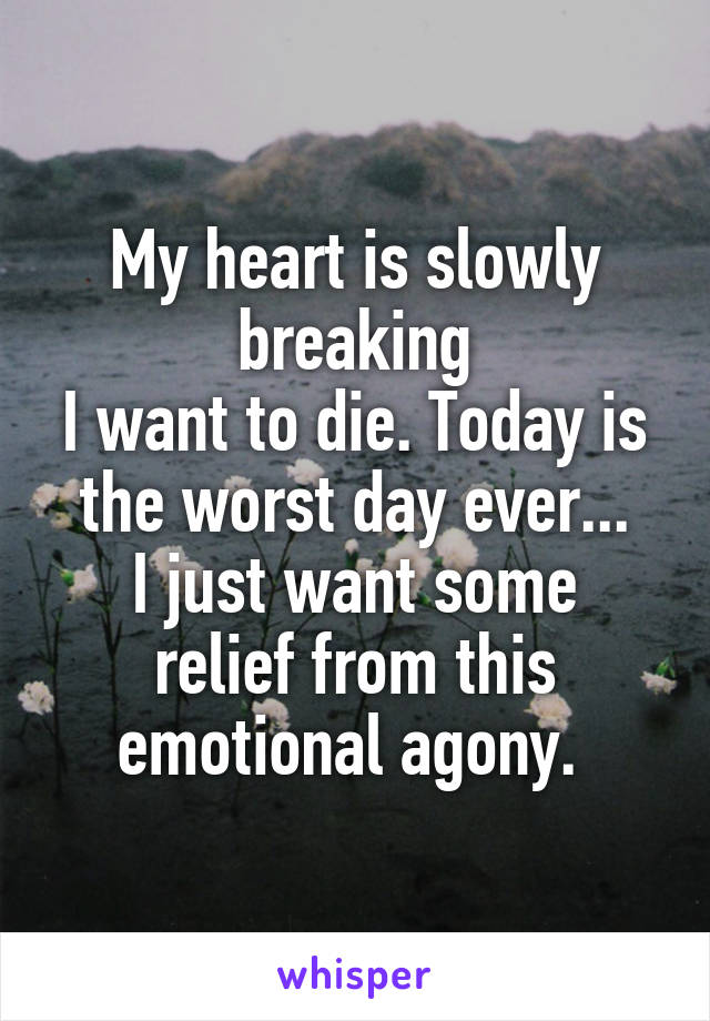 My heart is slowly breaking I want to die. Today is the worst day ever... I just want some relief from this emotional agony.