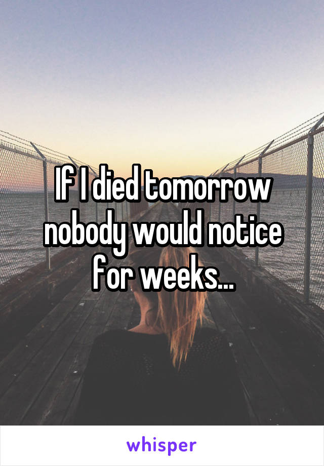 If I died tomorrow nobody would notice for weeks...