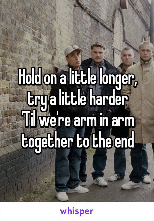 Hold on a little longer, try a little harder 'Til we're arm in arm together to the end