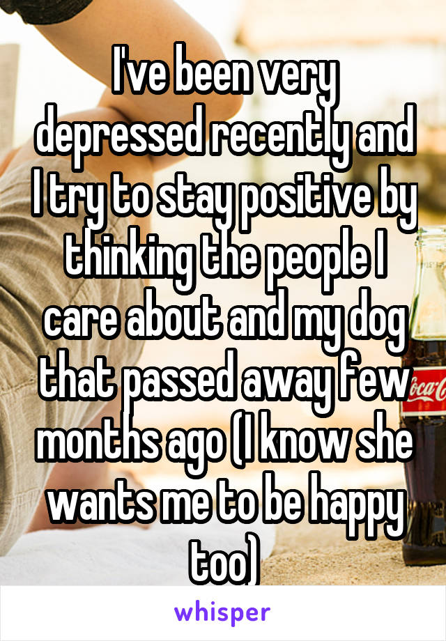 I've been very depressed recently and I try to stay positive by thinking the people I care about and my dog that passed away few months ago (I know she wants me to be happy too)