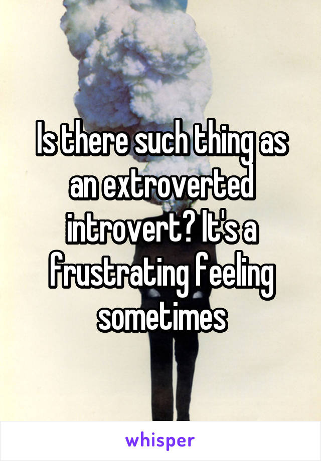 Is there such thing as an extroverted introvert? It's a frustrating feeling sometimes