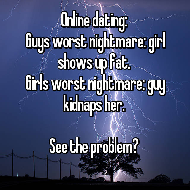Online dating:  Guys worst nightmare: girl shows up fat.  Girls worst nightmare: guy kidnaps her.   See the problem?