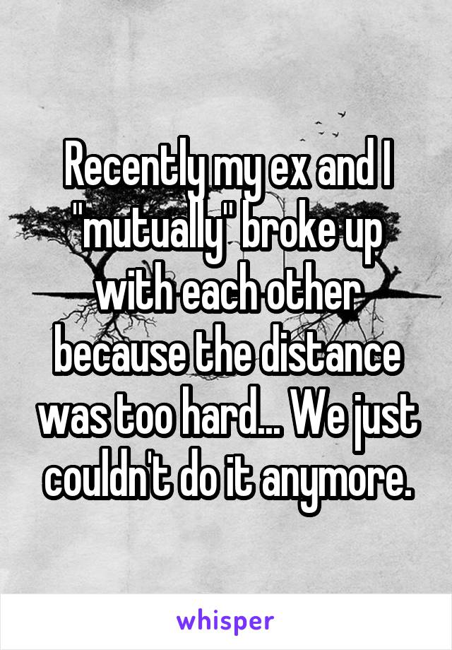 """Recently my ex and I """"mutually"""" broke up with each other because the distance was too hard... We just couldn't do it anymore."""
