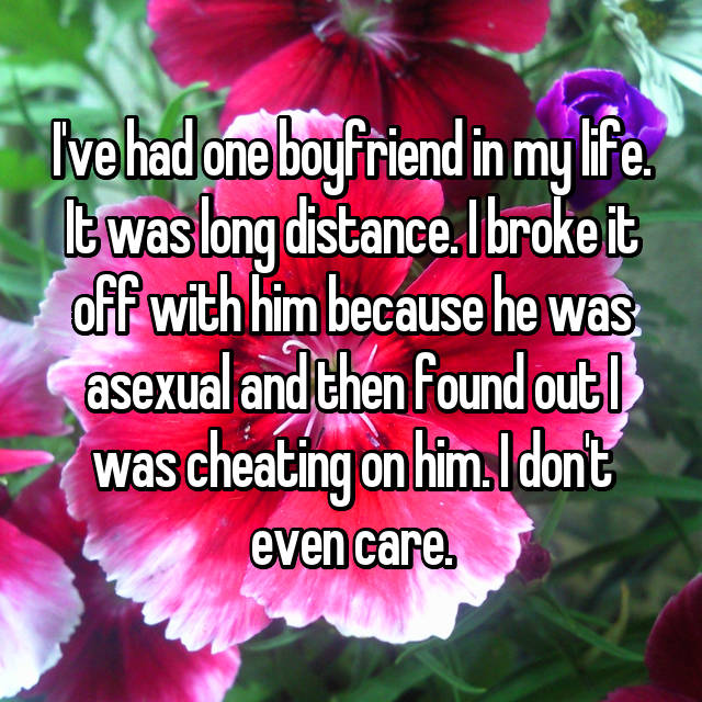 I've had one boyfriend in my life. It was long distance. I broke it off with him because he was asexual and then found out I was cheating on him. I don't even care.