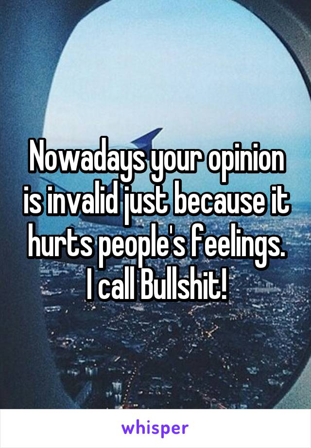 Nowadays your opinion is invalid just because it hurts people's feelings. I call Bullshit!
