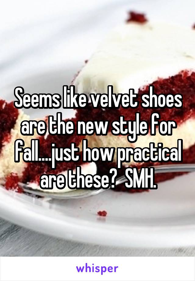 Seems like velvet shoes are the new style for fall....just how practical are these?  SMH.