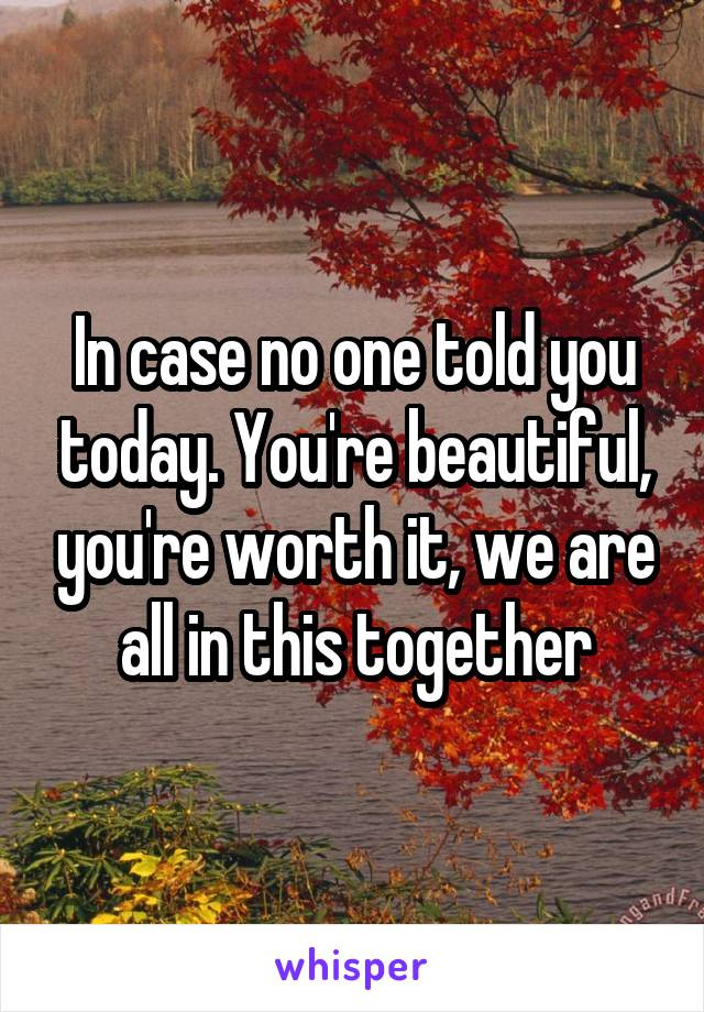 In case no one told you today. You're beautiful, you're worth it, we are all in this together