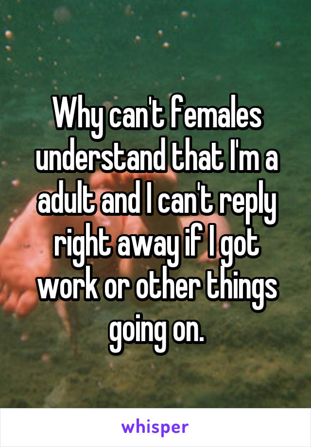 Why can't females understand that I'm a adult and I can't reply right away if I got work or other things going on.