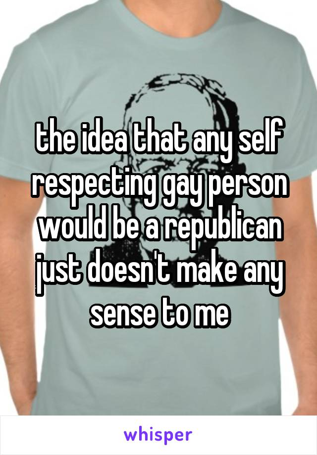 the idea that any self respecting gay person would be a republican just doesn't make any sense to me