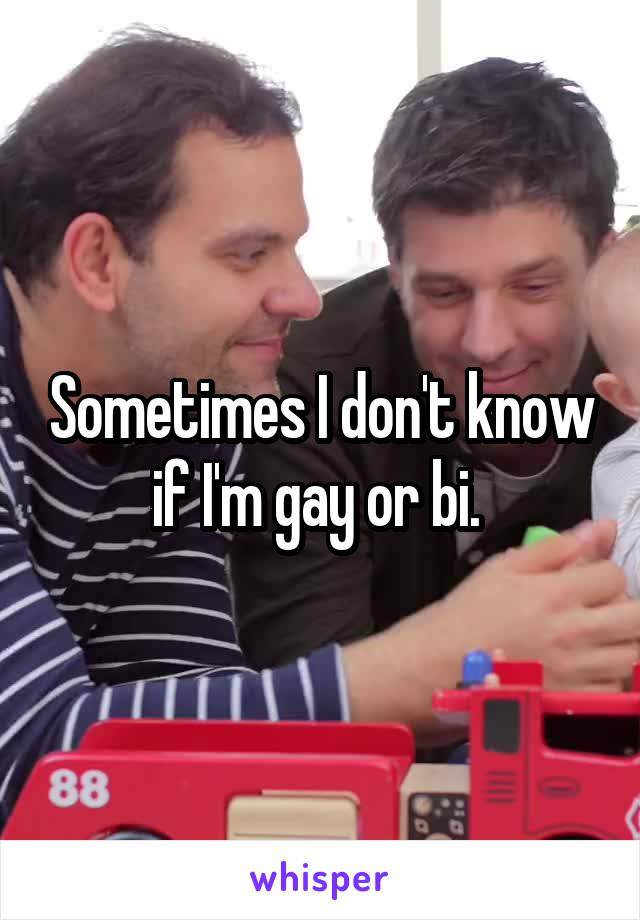 Sometimes I don't know if I'm gay or bi.